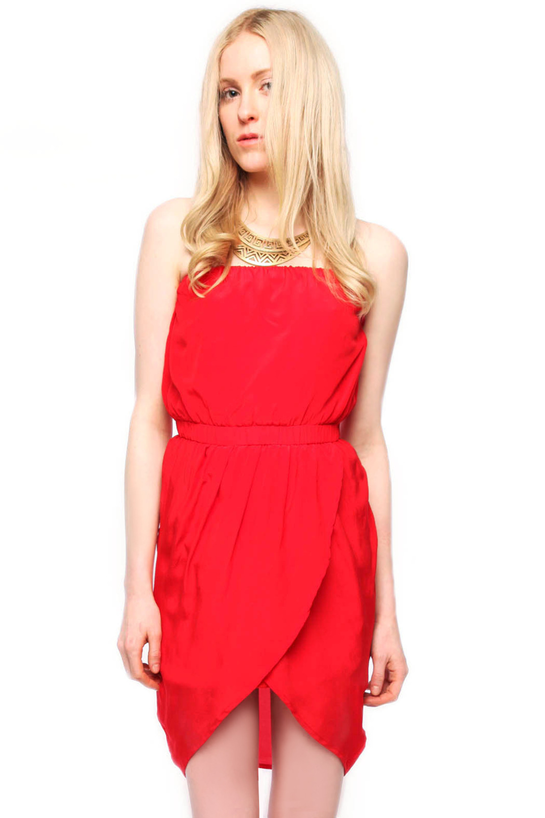 Olivaceous Strapless Silk Dress - Main Image