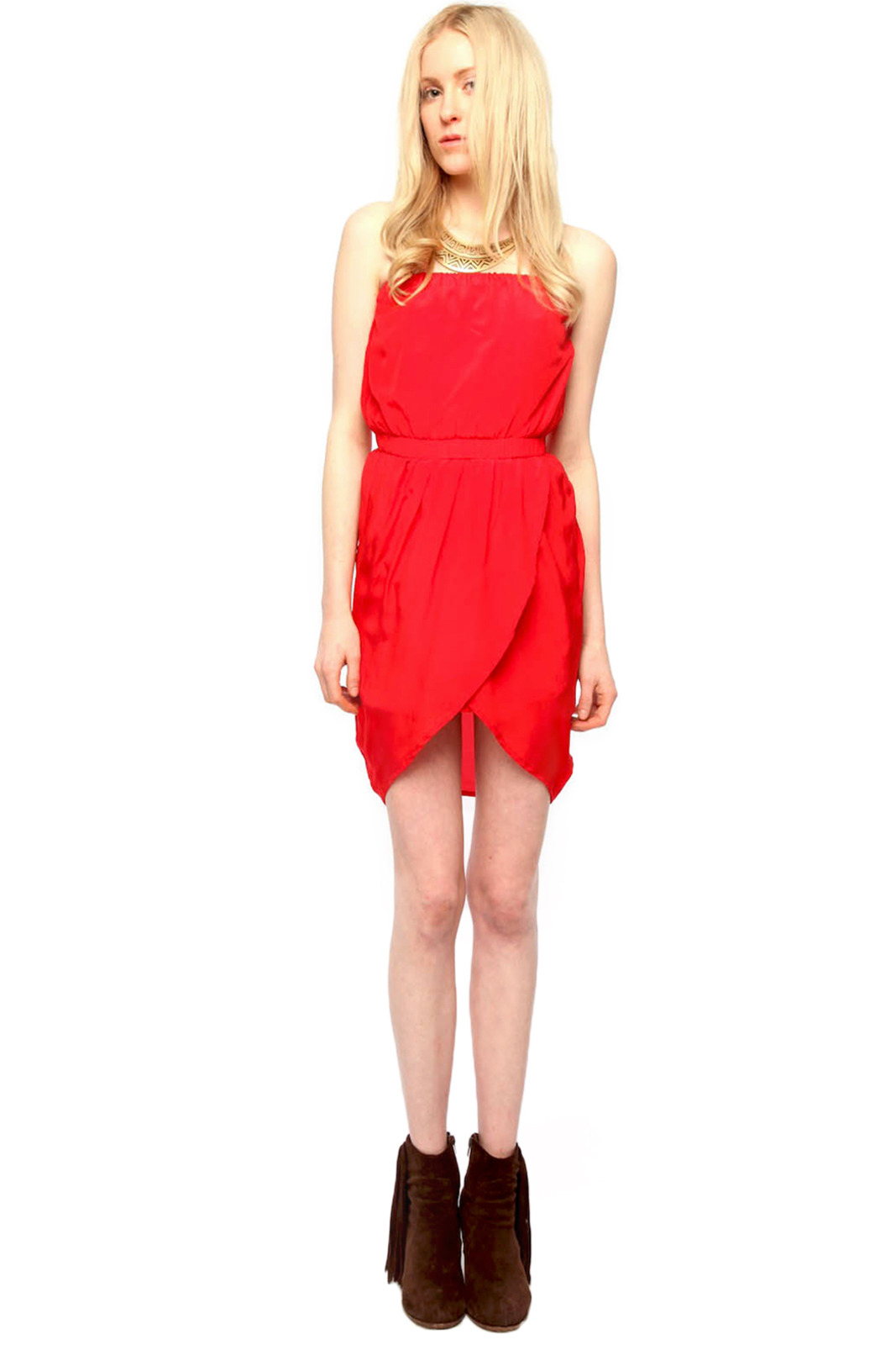 Olivaceous Strapless Silk Dress - Front Full Image