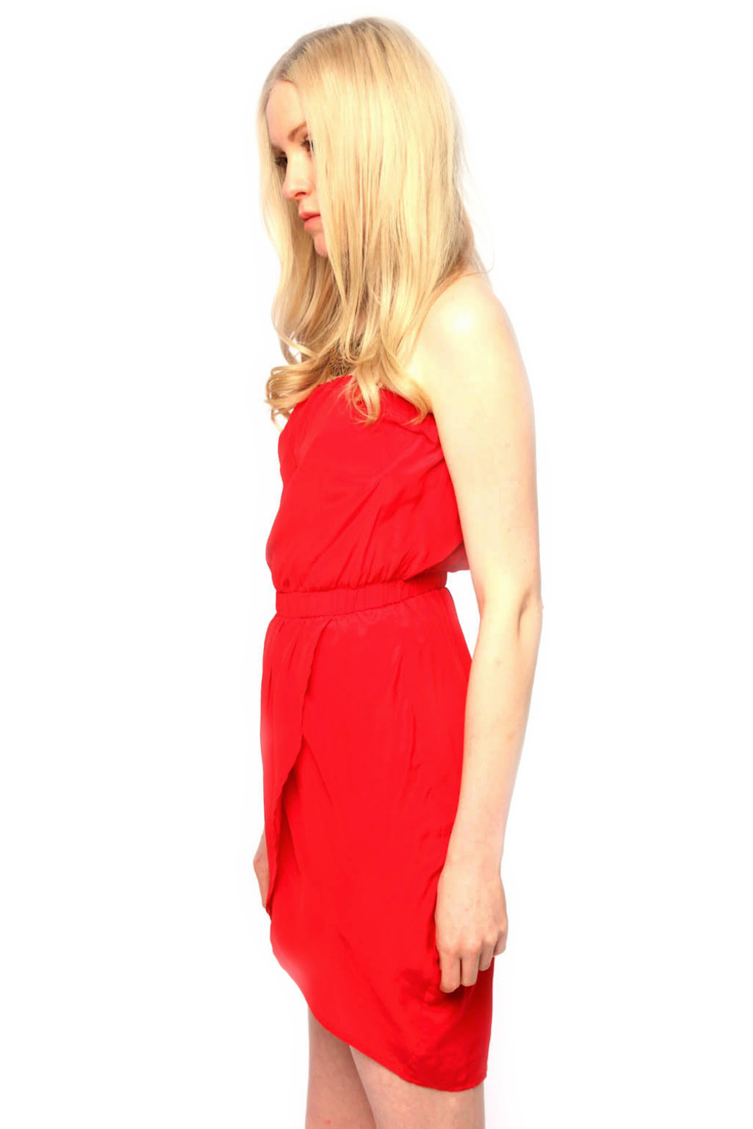 Olivaceous Strapless Silk Dress - Side Cropped Image