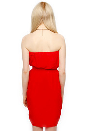 Olivaceous Strapless Silk Dress - Back cropped