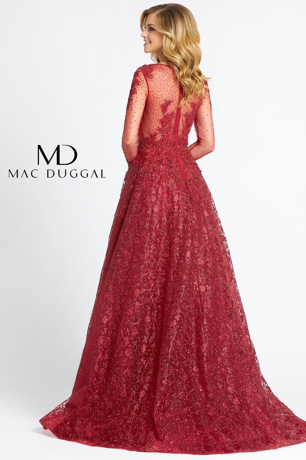 Mac Duggal High Neck Gown - Side Cropped Image