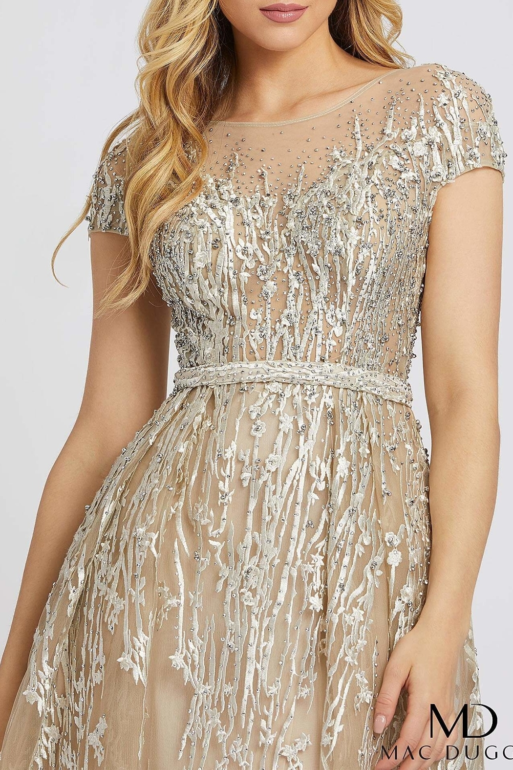 Mac Duggal Illusion Neck Line Gown - Side Cropped Image