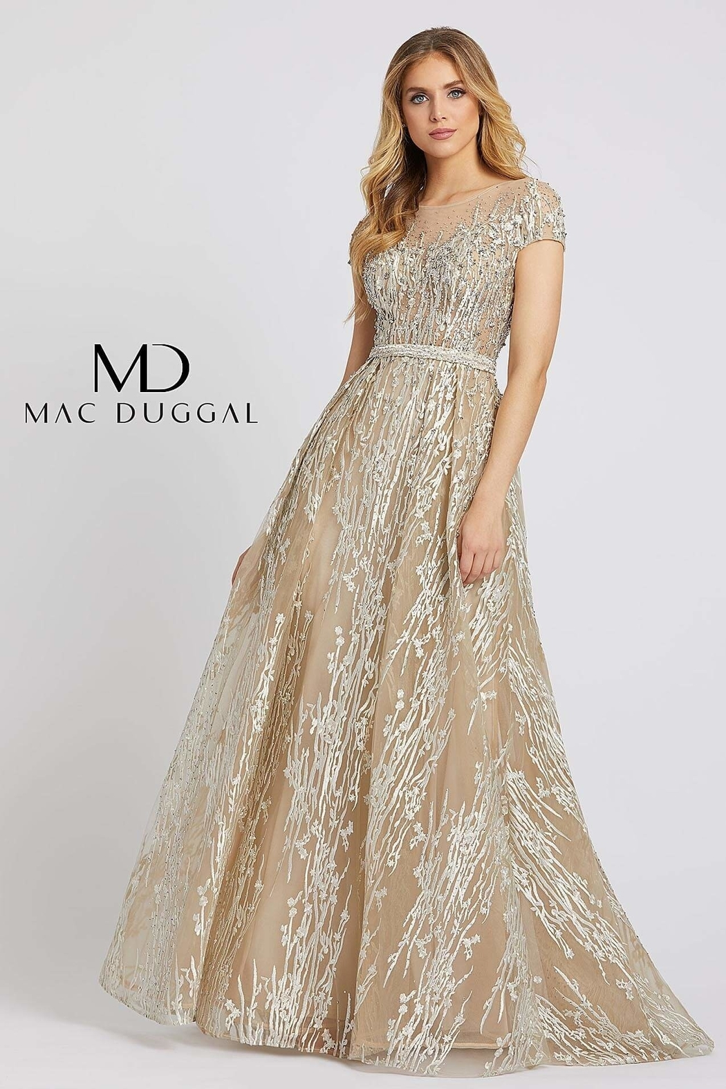 Mac Duggal Illusion Neck Line Gown - Front Cropped Image