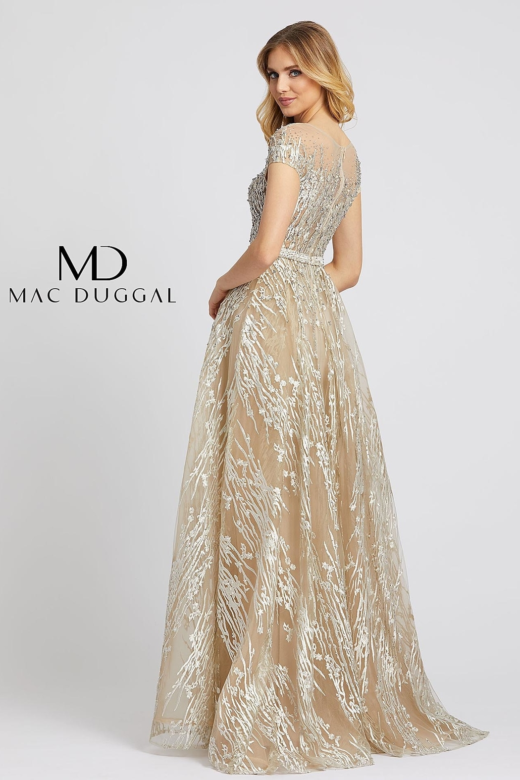 Mac Duggal Illusion Neck Line Gown - Front Full Image