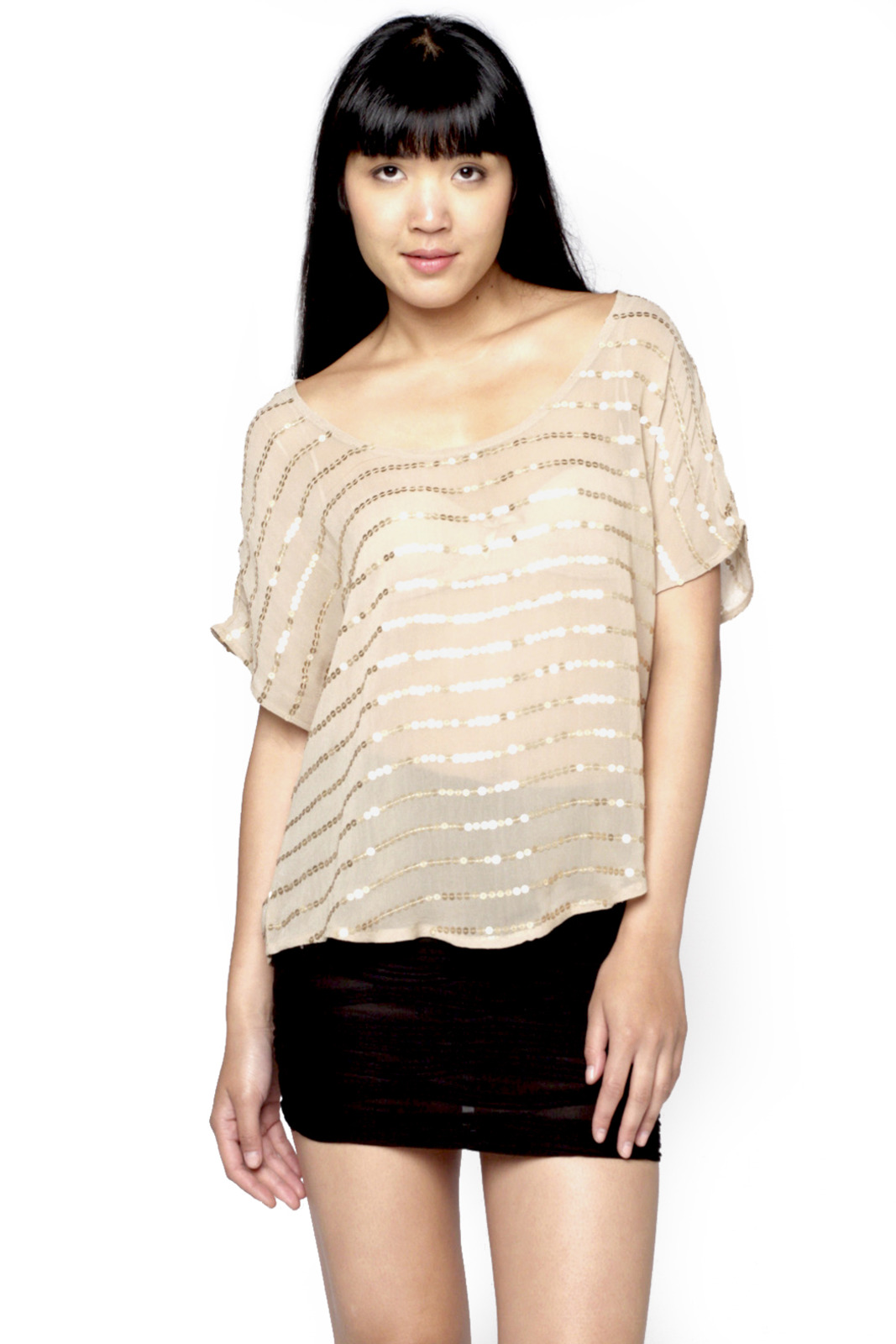 Matty M Sequin-Striped Blouse - Front Cropped Image