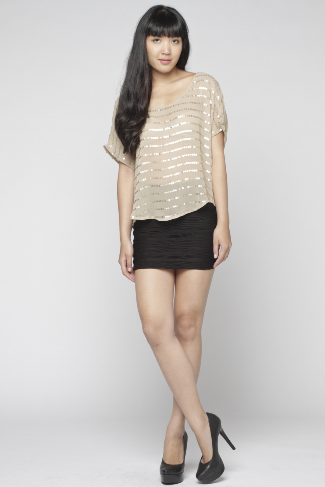 Matty M Sequin-Striped Blouse - Front Full Image