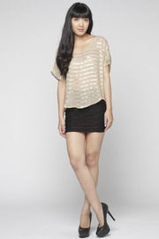 Matty M Sequin-Striped Blouse - Front full body