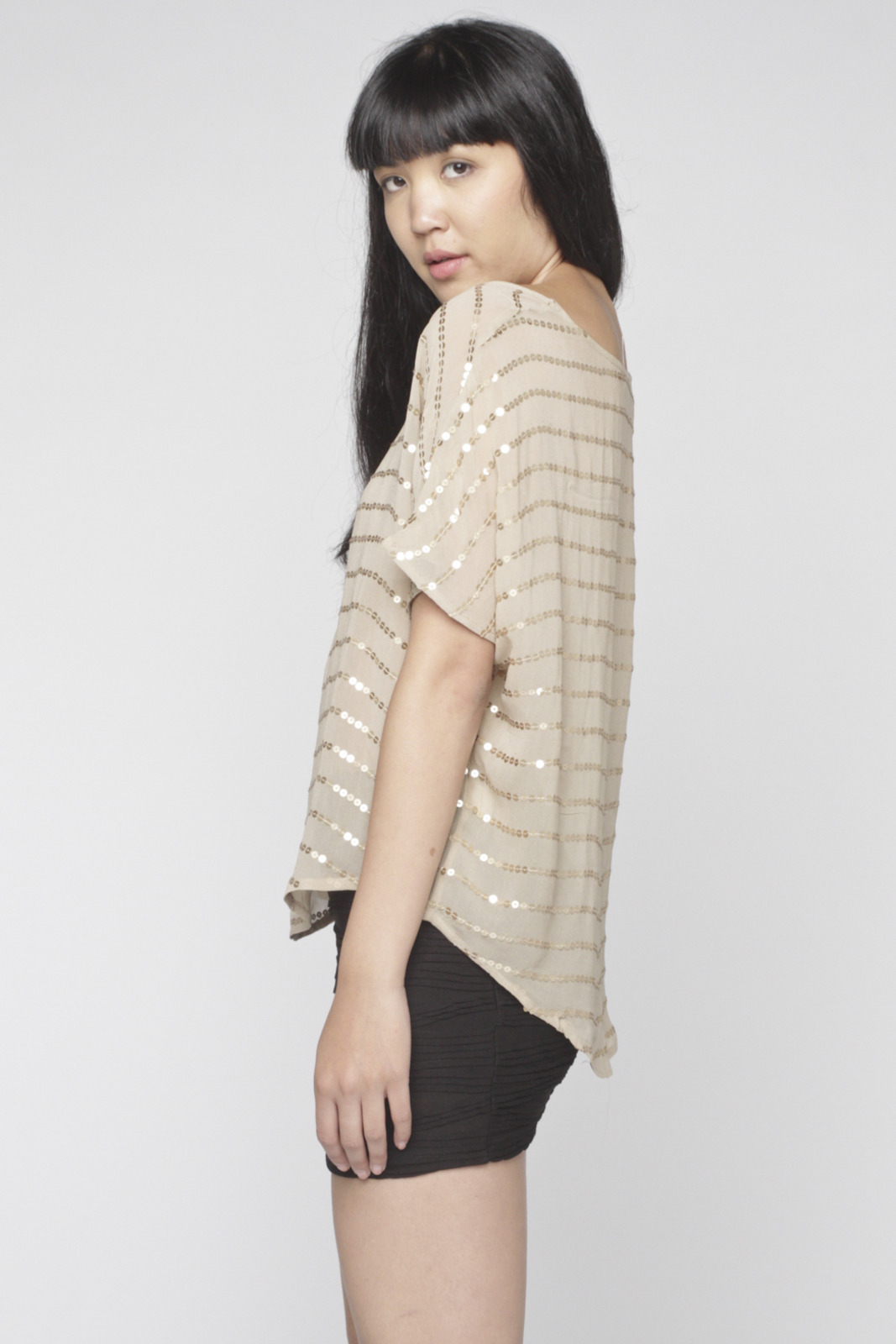 Matty M Sequin-Striped Blouse - Side Cropped Image