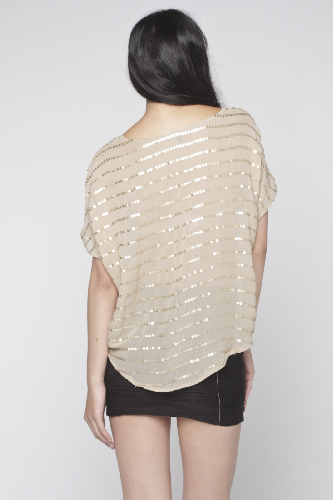 Matty M Sequin-Striped Blouse - Back Cropped Image
