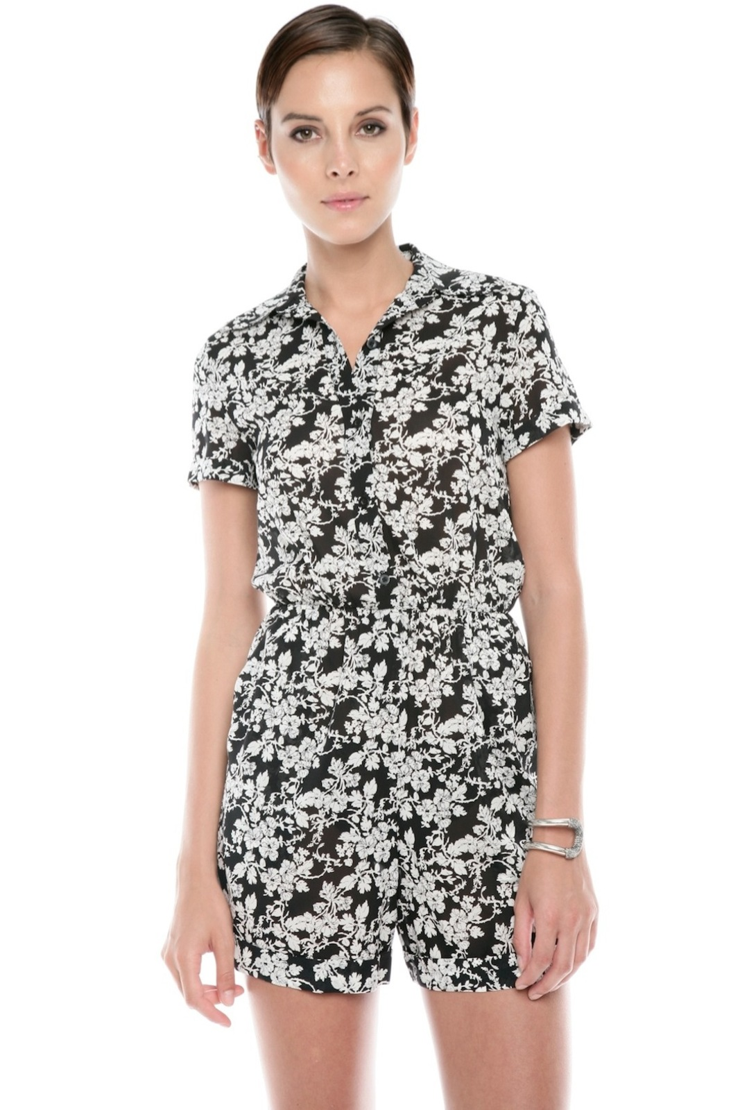 Alice + Olivia Floral-Print Romper - Front Cropped Image
