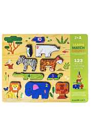 Crocodile Creek 123 Zoo: Learn Match Count! Wood Stacking Puzzle - Front cropped