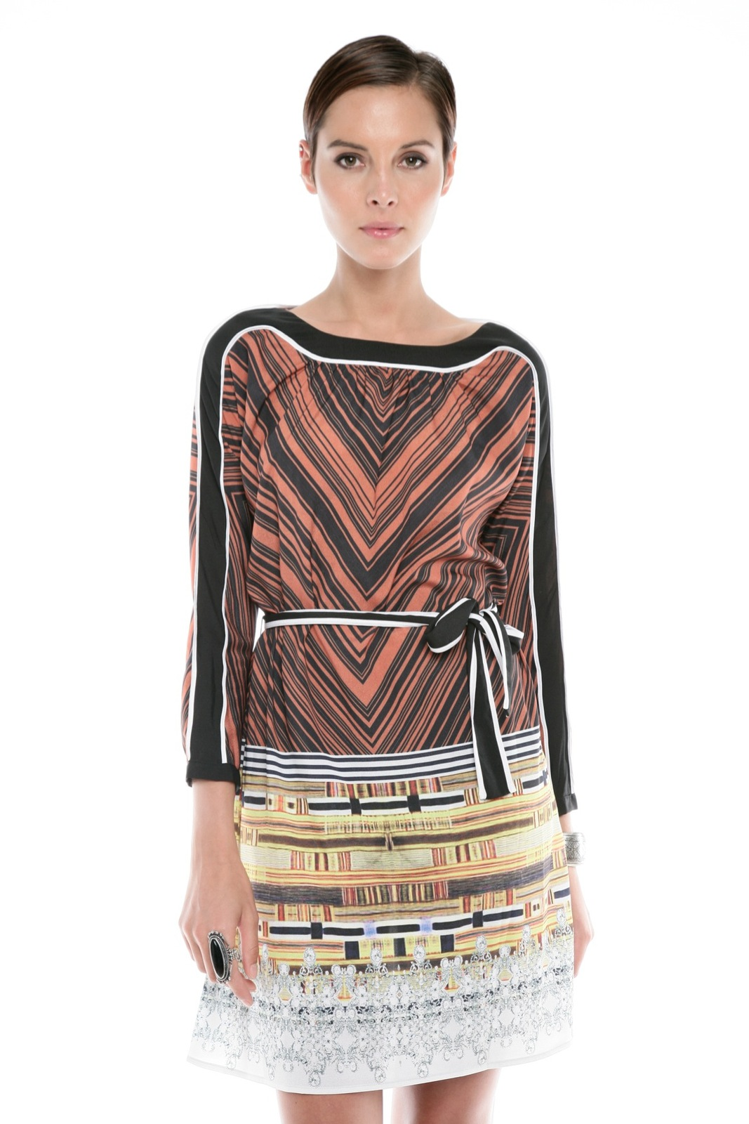 Clover Canyon Chevron Print Dress - Front Cropped Image