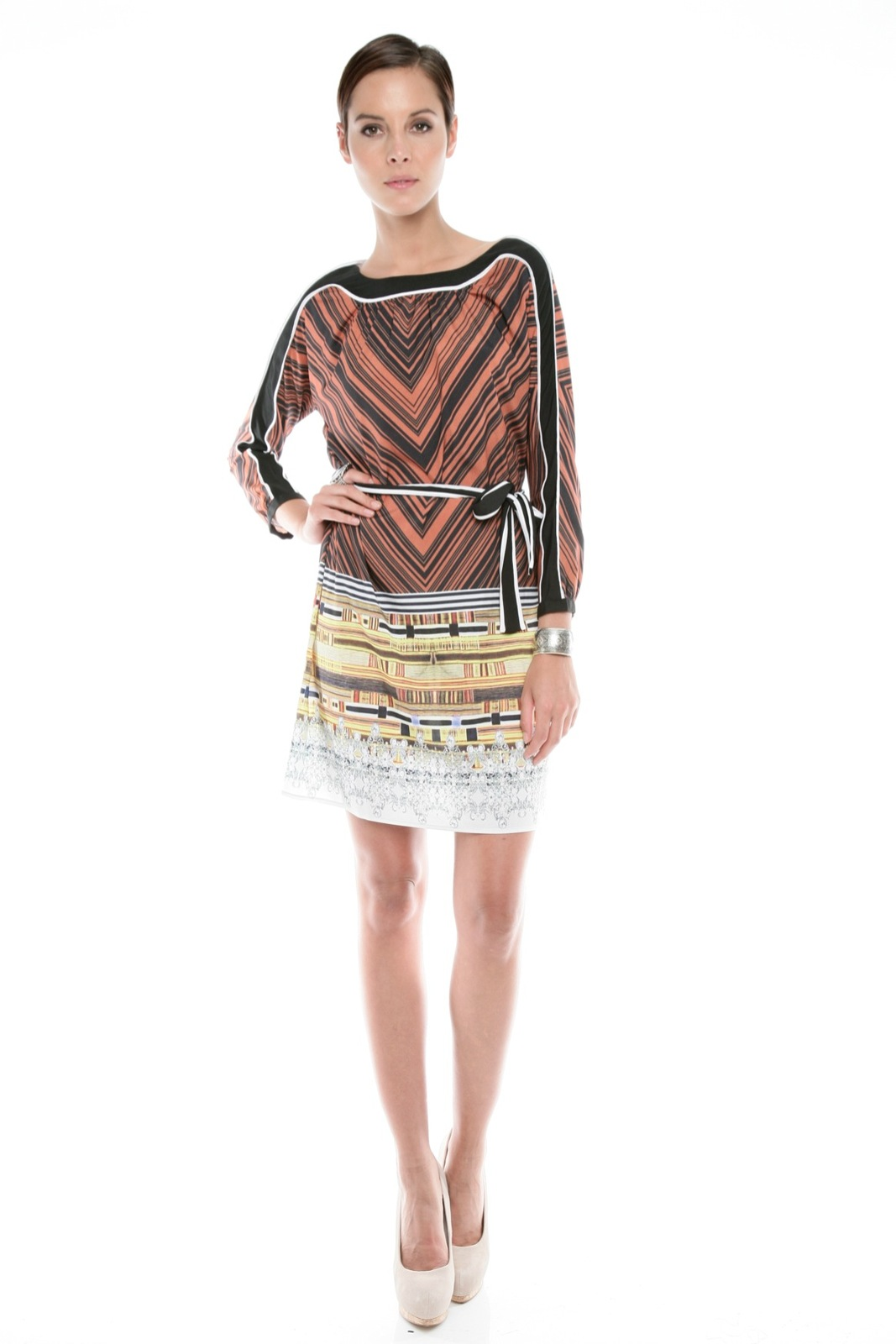 Clover Canyon Chevron Print Dress - Front Full Image