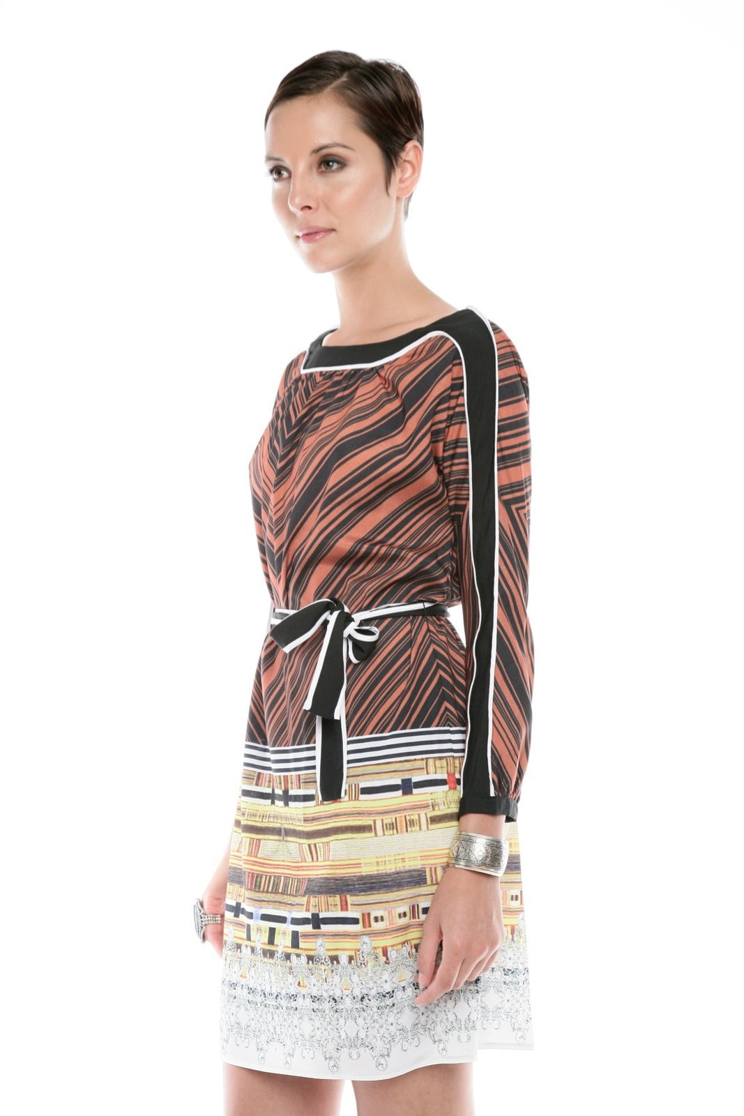Clover Canyon Chevron Print Dress - Side Cropped Image