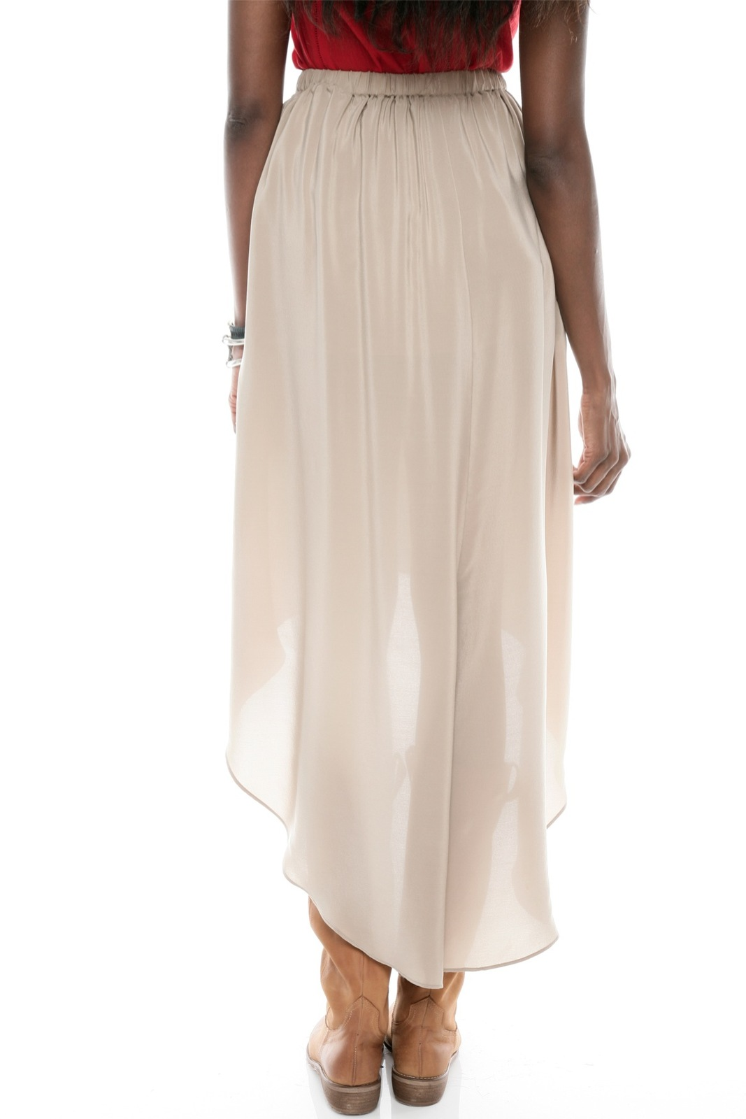 CUT25 BY YIGAL AZROUEL Hi-Low Silk Skirt - Back Cropped Image