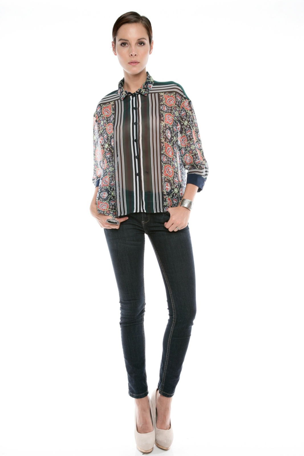 Clover Canyon Sheer Buttondown Blouse - Front Full Image