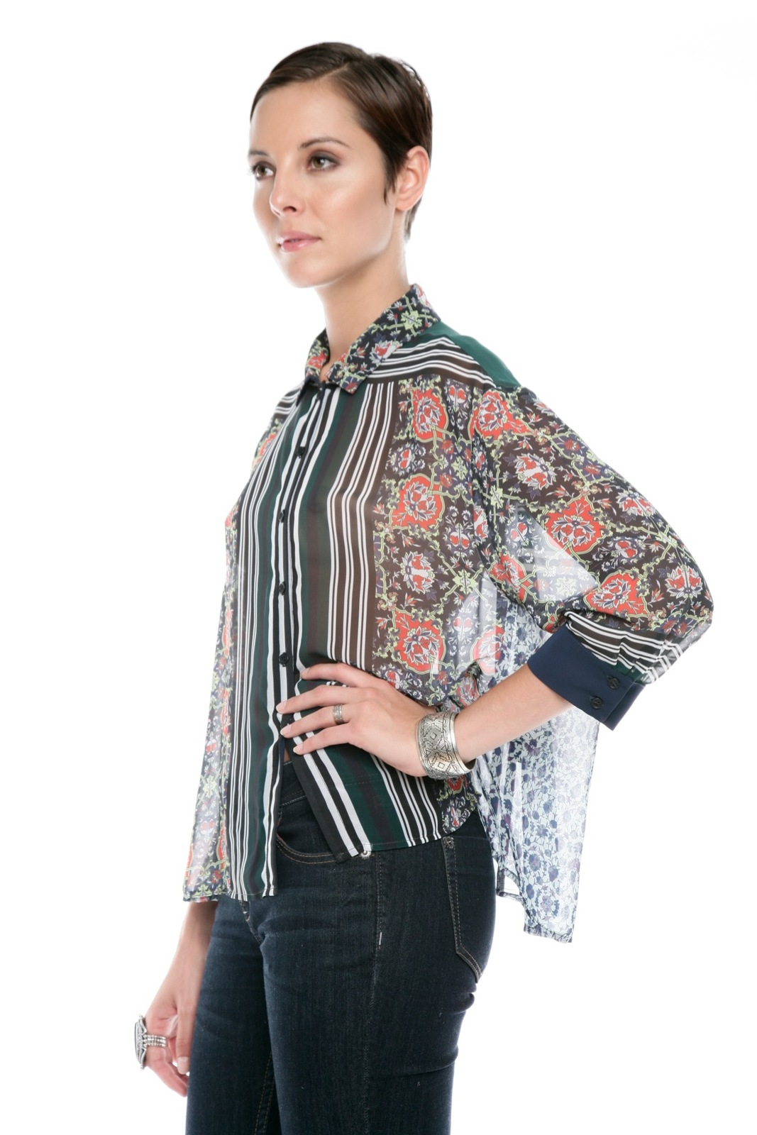 Clover Canyon Sheer Buttondown Blouse - Side Cropped Image