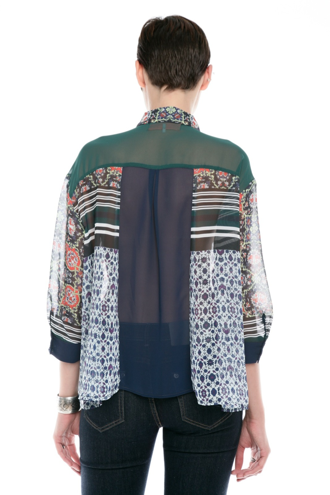 Clover Canyon Sheer Buttondown Blouse - Back Cropped Image