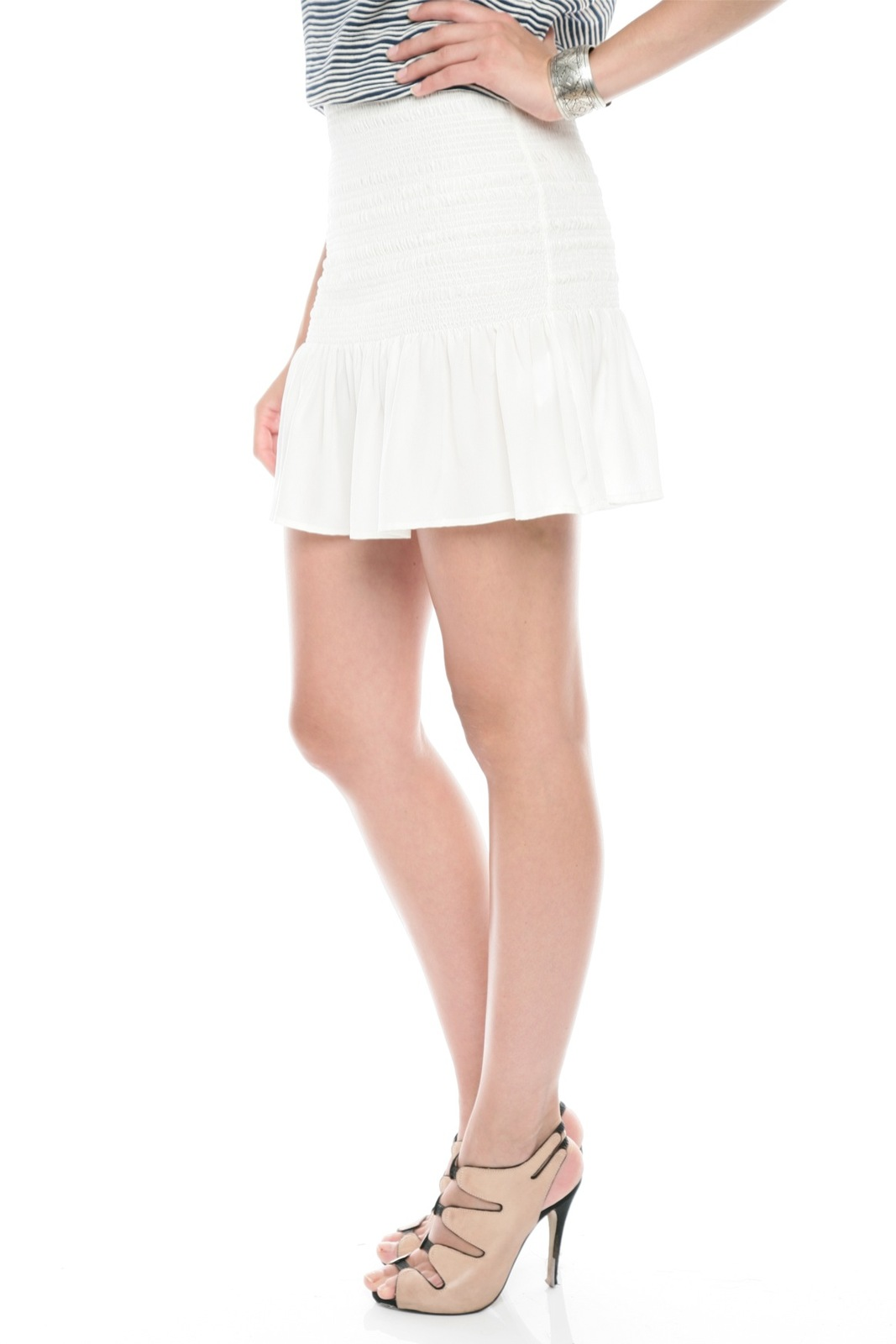 Joie Smocked Silk Skirt - Side Cropped Image
