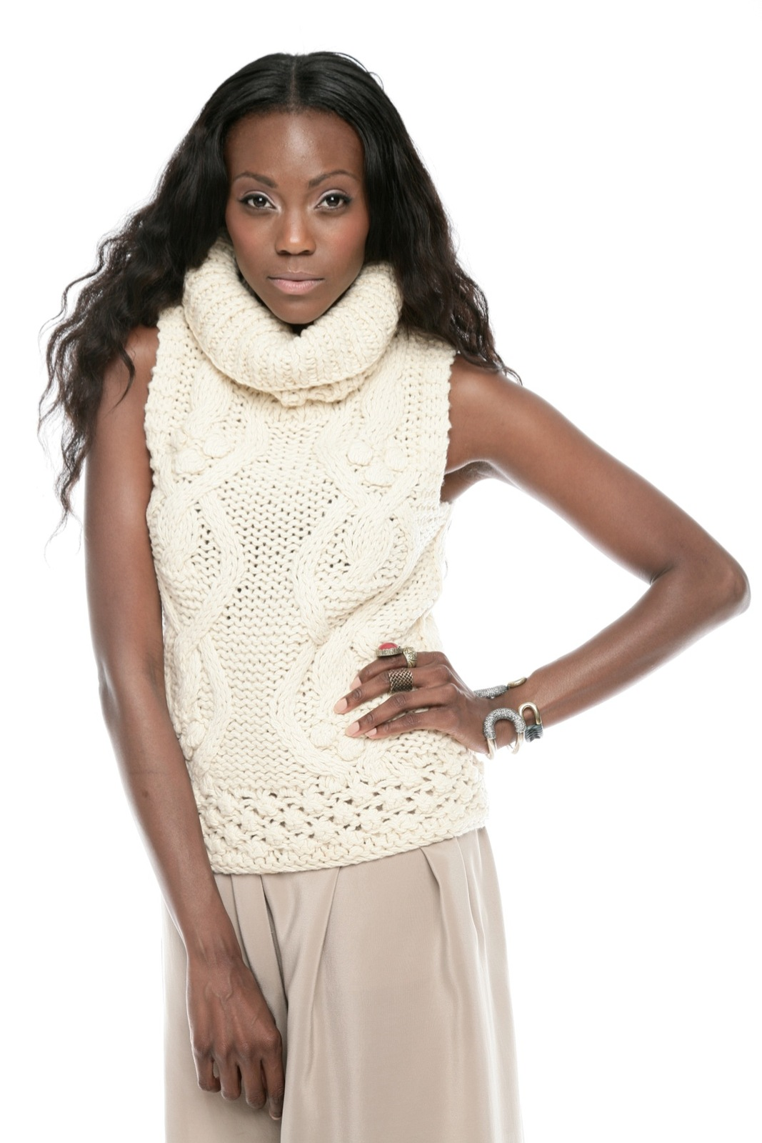 Hazel Cable-Knit Sleeveless Turtleneck Sweater from Edina by Il ...