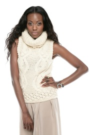 Hazel Cable-Knit Sleeveless Turtleneck Sweater - Front cropped