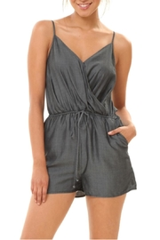 1250 c Denim Spaghetti Strap Romper - Product Mini Image