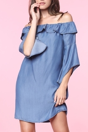 1250 c Off Shoulder Denim Dress - Product Mini Image
