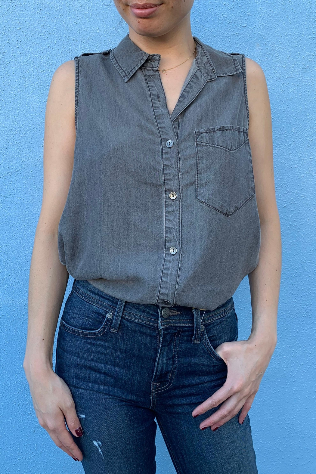1250 c Sleeveless Button Down - Front Full Image