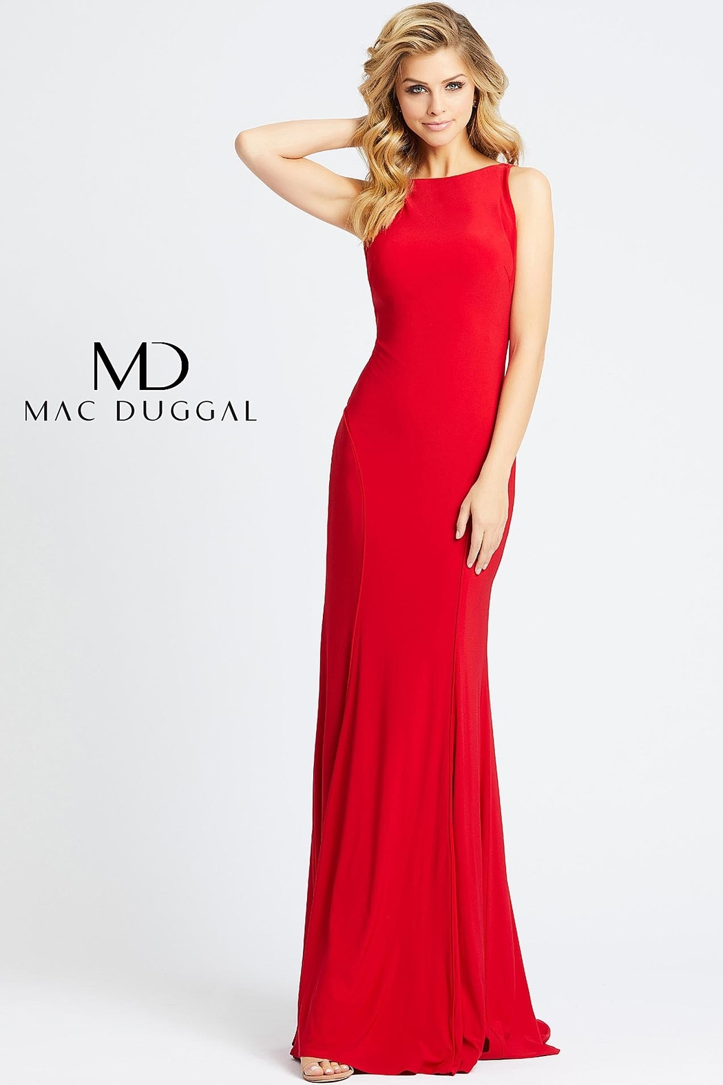 Mac Duggal A-line stretch jersey backless evening gown - Main Image
