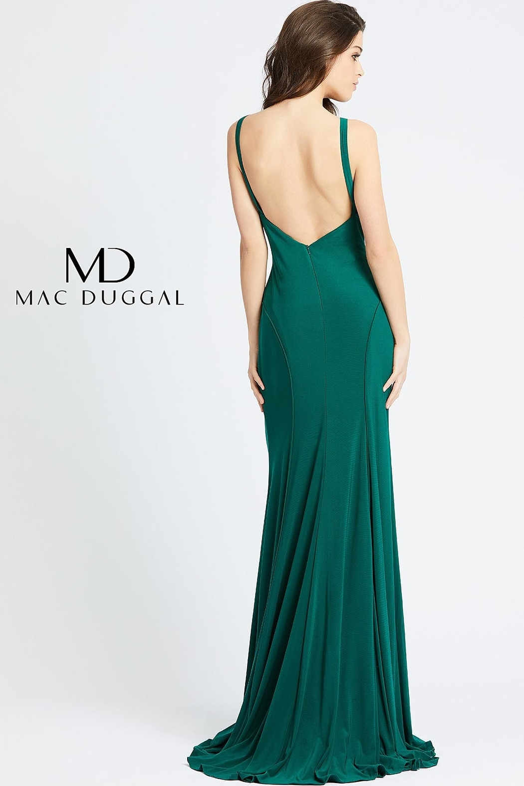 Mac Duggal A-line stretch jersey backless evening gown - Front Full Image