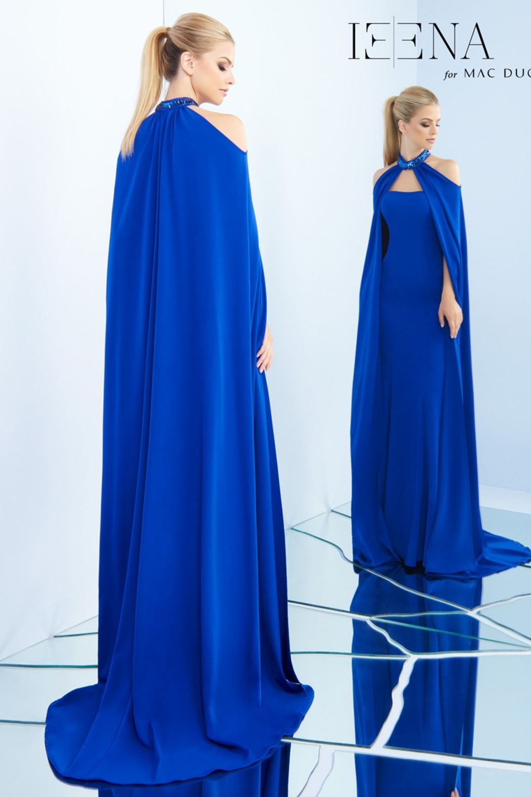 Mac Duggal Strapless Gown and Cape - Front Full Image
