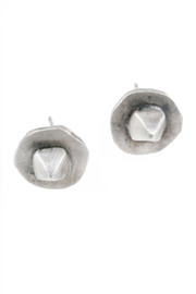 Shoptiques Product: Circle Pyramid Stud Earrings