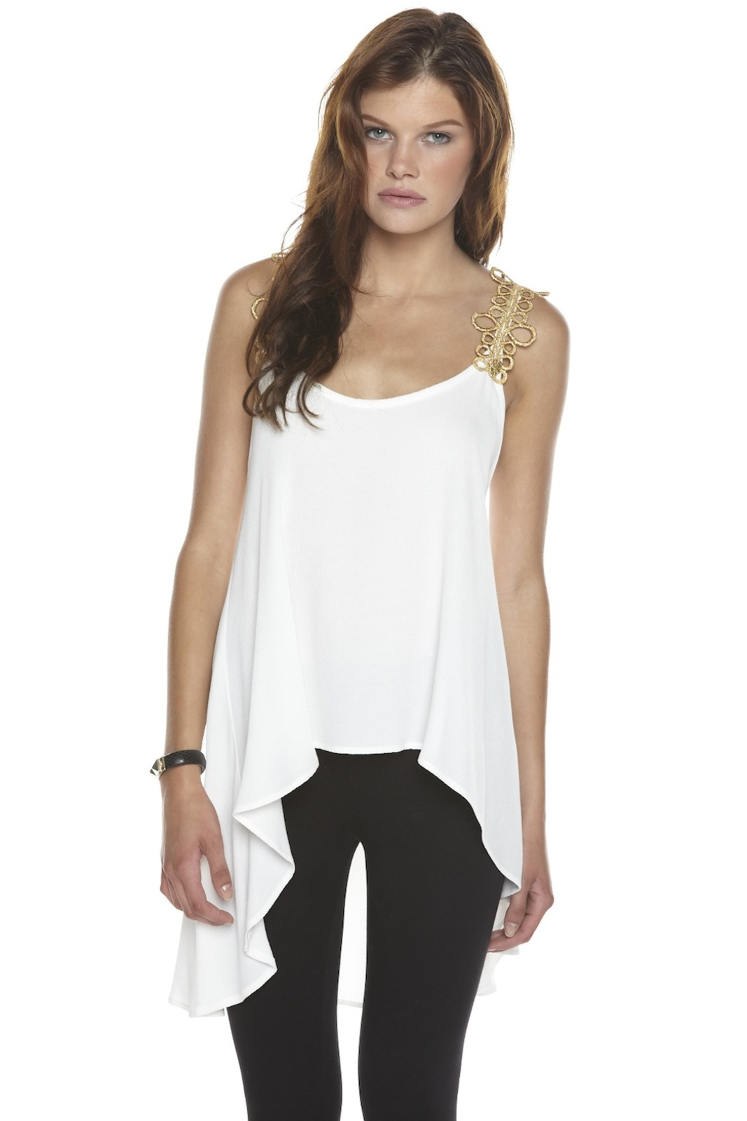 Odylyne Gold-Trim Blouse - Front Cropped Image