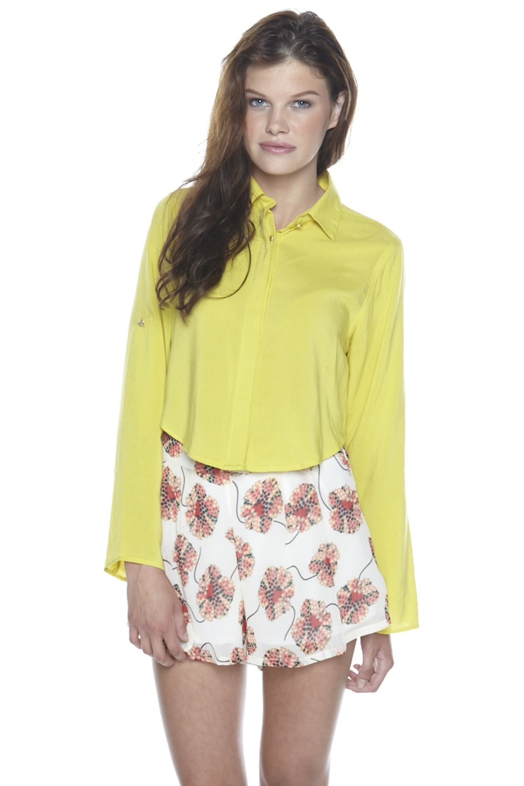 Odylyne Button-Up Cropped Blouse - Main Image