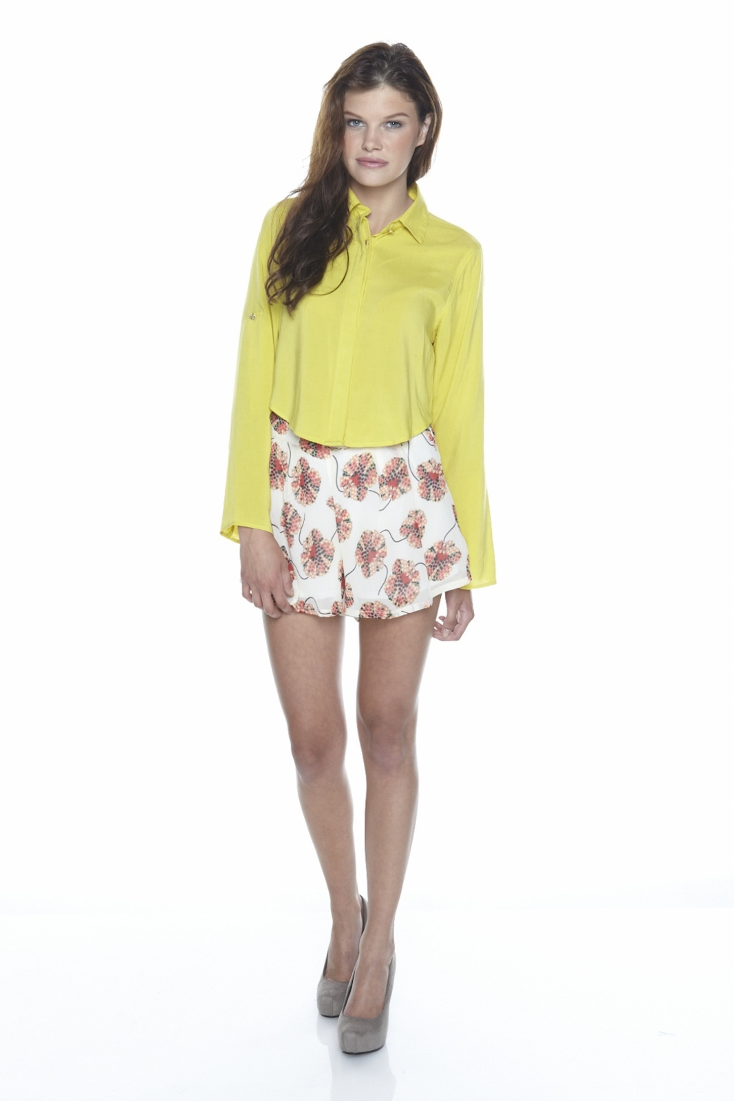 Odylyne Button-Up Cropped Blouse - Front Full Image