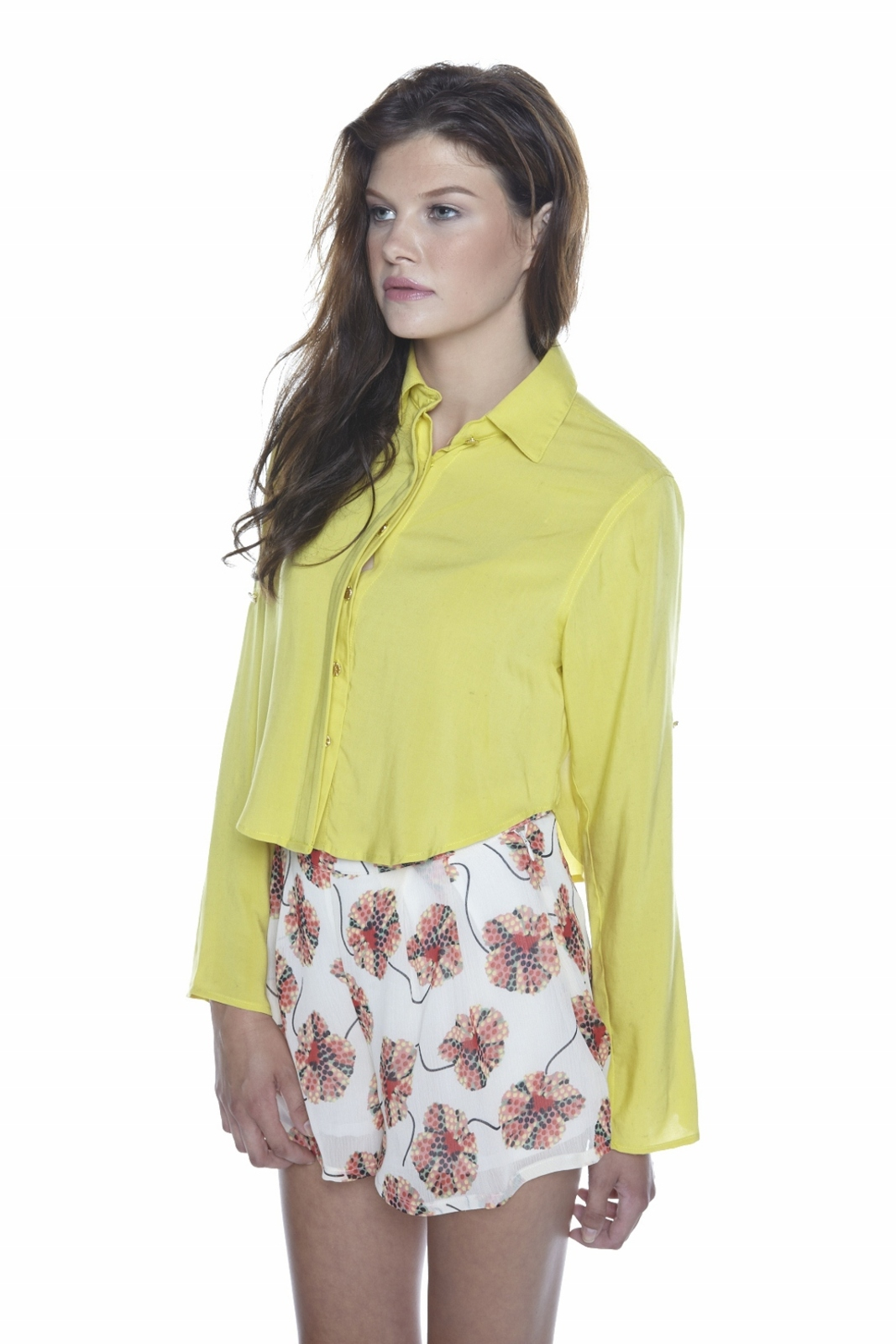 Odylyne Button-Up Cropped Blouse - Side Cropped Image