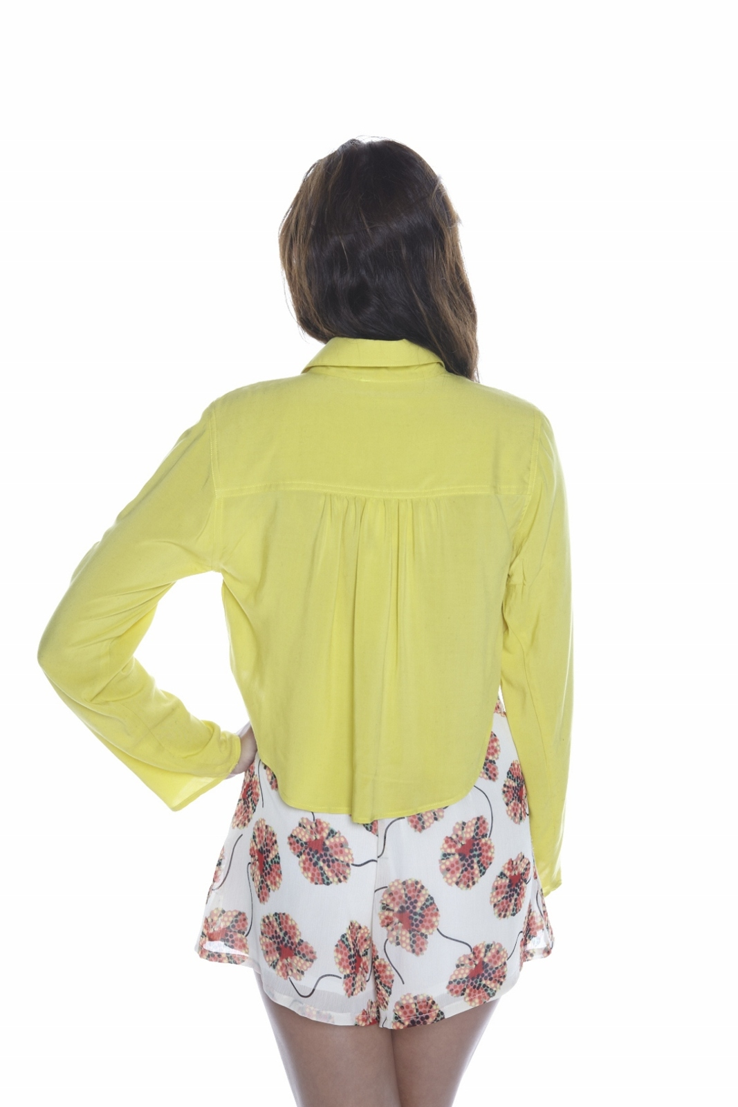 Odylyne Button-Up Cropped Blouse - Back Cropped Image