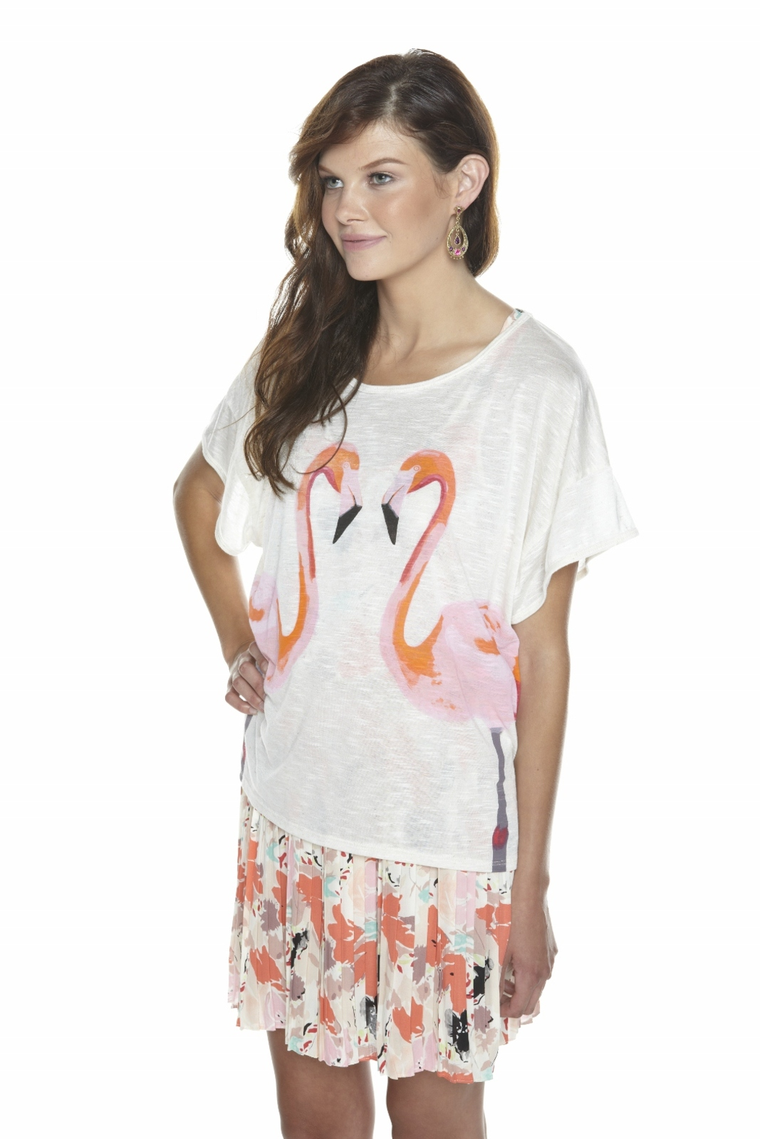 Torn by Ronny Kobo Flamingo Tee - Side Cropped Image