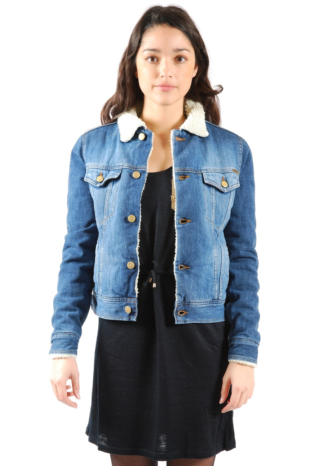 Fur-Lined Denim Jacket from Marais by Acquaverde — Shoptiques