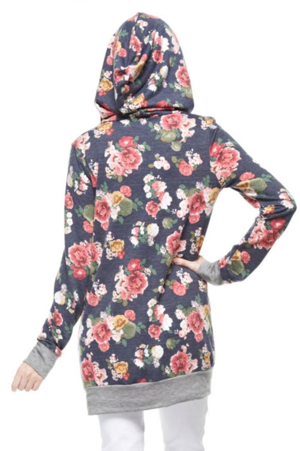 12pm by Mon Ami Navy Floral Hoodie - Front Full Image