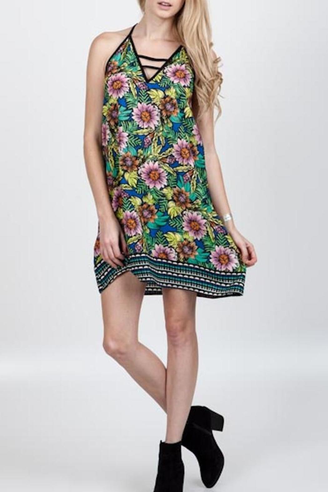 Floral Mini Dress - Front Cropped Image