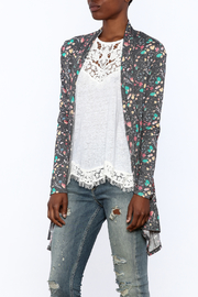 12pm by Mon Ami Grey Floral Print Cardigan - Front cropped