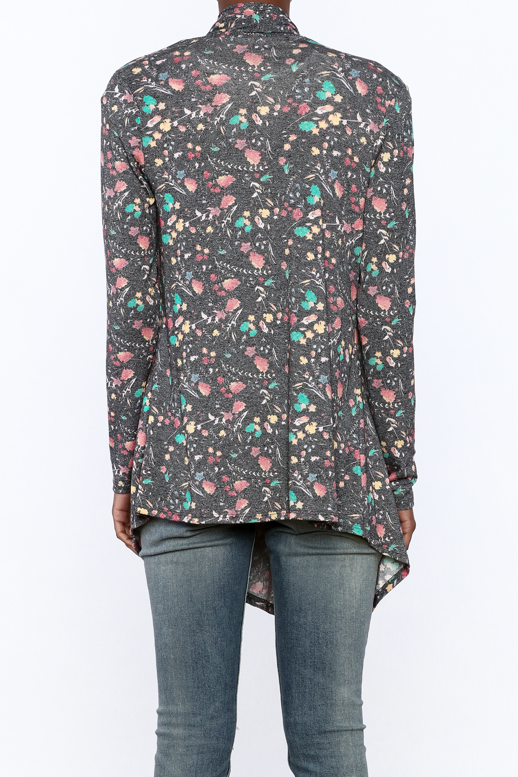 12pm by Mon Ami Grey Floral Print Cardigan - Back Cropped Image