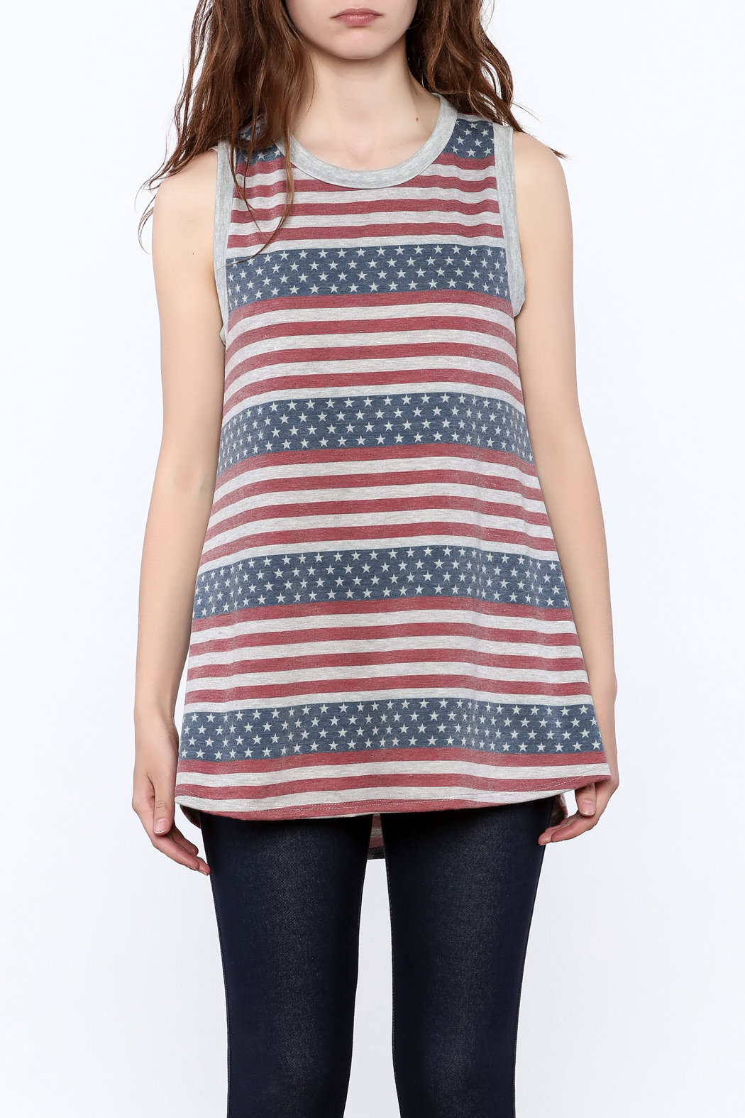 12pm by Mon Ami Stars And Stripes Tank - Side Cropped Image