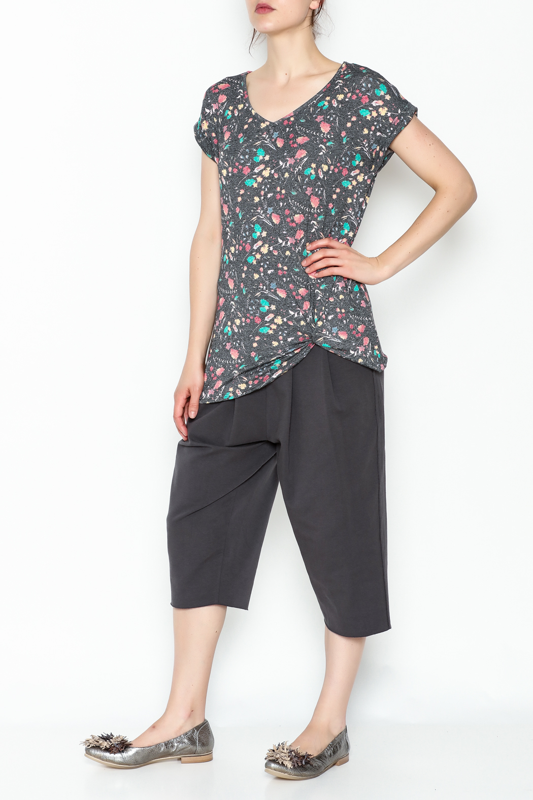 12pm by Mon Ami Twisted Rolled Sleeve Top - Side Cropped Image