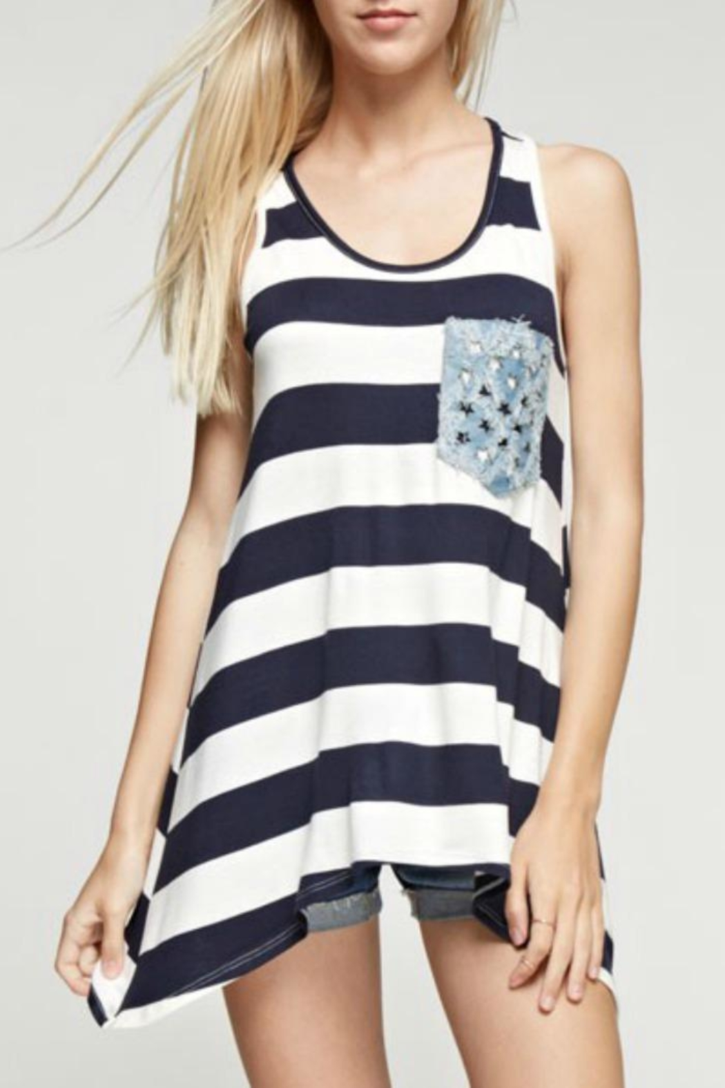 12pm by Mon Ami American Stripe Tank - Front Cropped Image