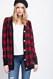 12pm by Mon Ami Buffalo Check Cardigan - Side cropped