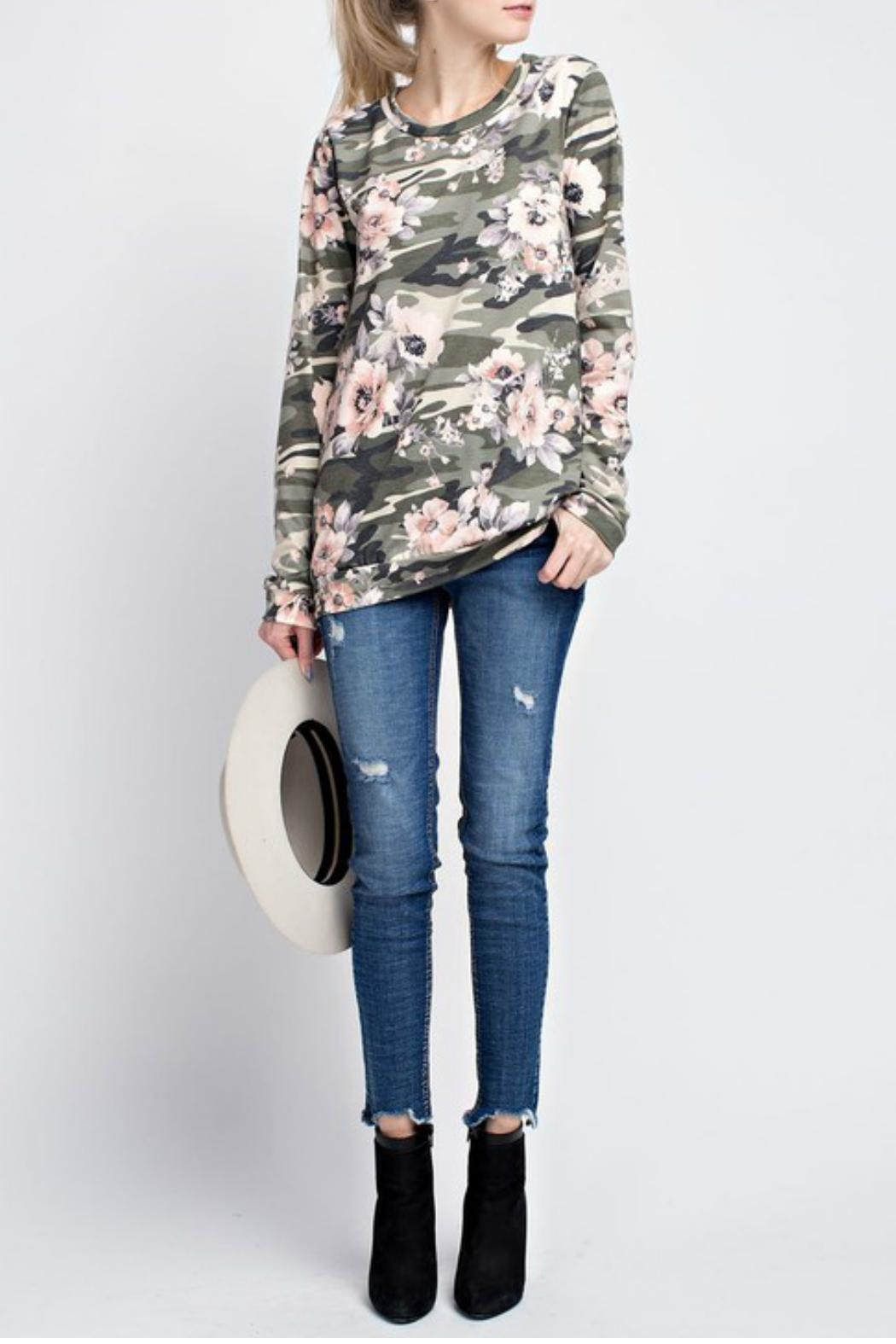12pm by Mon Ami Camo Floral Top - Main Image