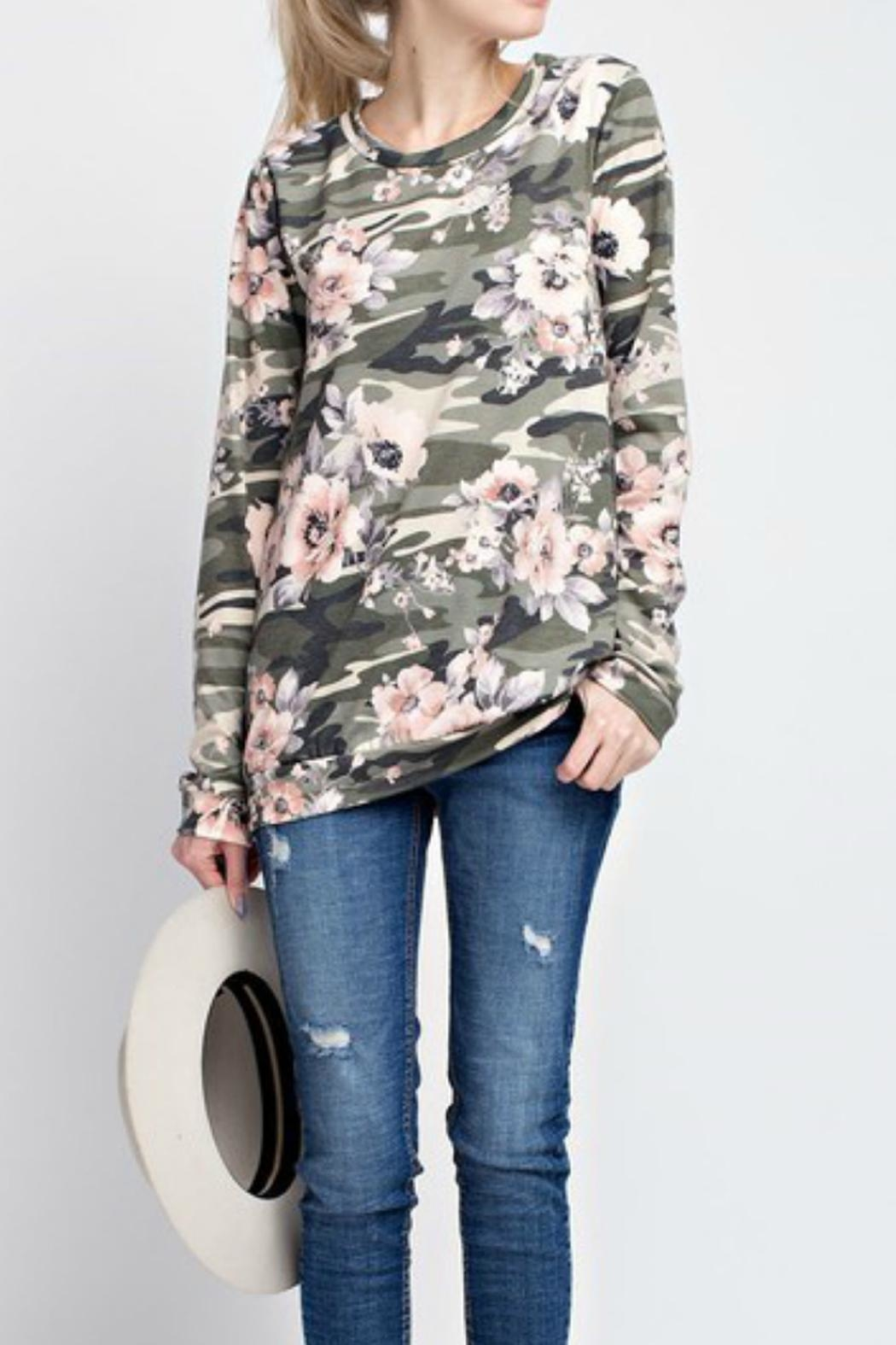 12pm by Mon Ami Camo Floral Top - Front Full Image