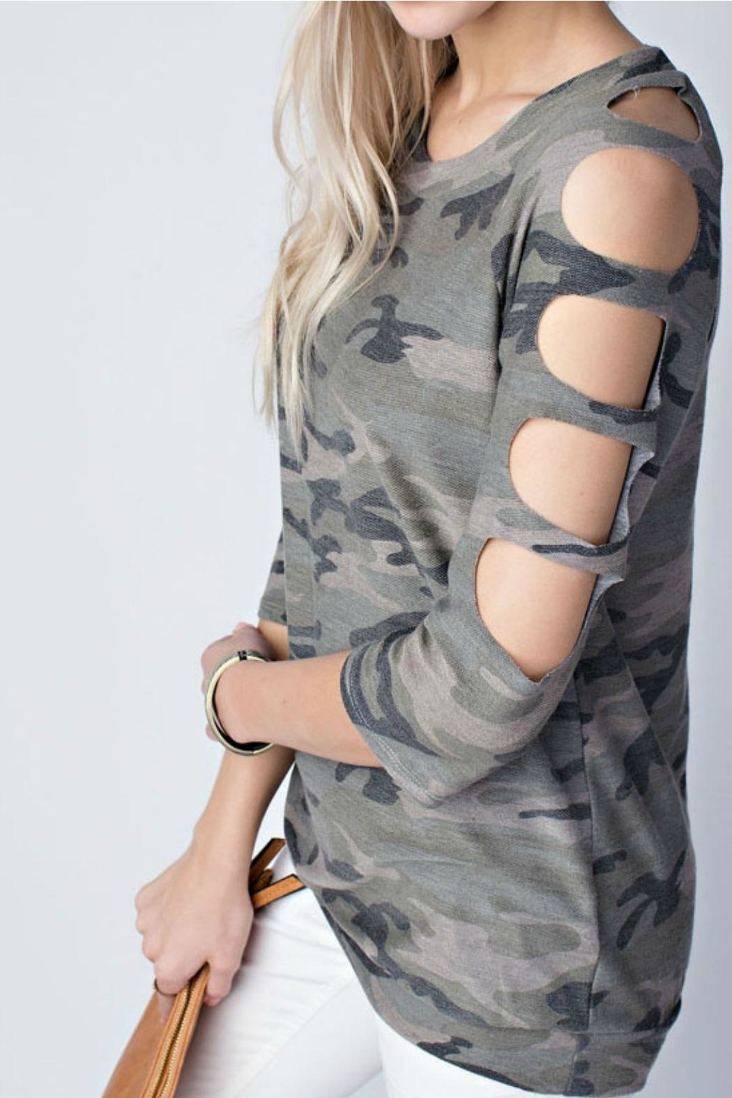 12pm by Mon Ami Camo Top - Front Full Image